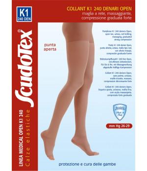832 Колготки компрессионные Скудотекс , антиварикозные (26-29 mmHg) 240 den открытый носок (мысок)